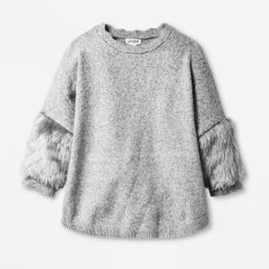 CAT & JACK Girls 3/4 Sleeve Faux Fur Cuff Sweater
